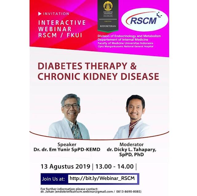 "Free Webinar: ""Diabetes therapy and chronic kidney disease "" Selasa, 13 Agustus 2019 (13.00 - 14.00 WIB*)"