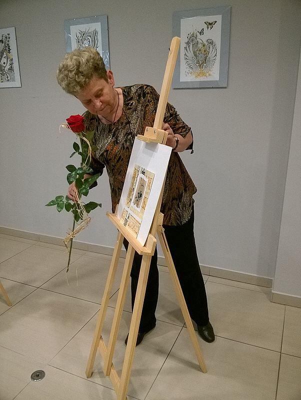 Gliwice, CH Forum - wystawa rysunku Danuty Popowicz