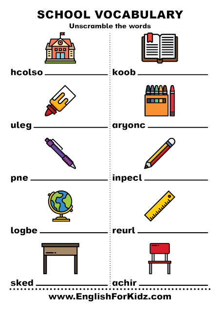 Free unscramble words worksheets - school vocabulary