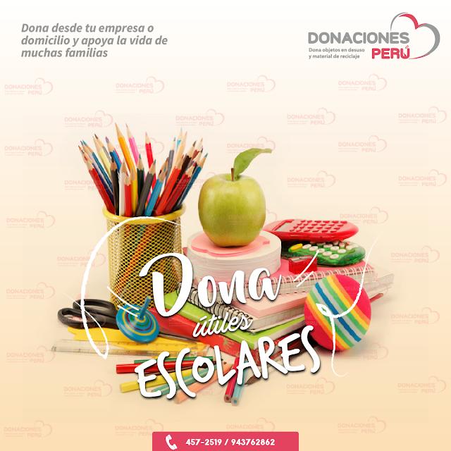 Dona útiles escolares - Donaciones Perú - Cuadernos -Donar