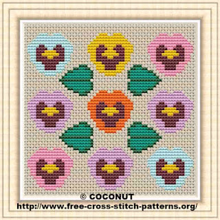 Pansy, Free and easy printable cross stitch pattern