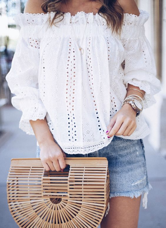 ootd | white blouse + bag + denim skirt