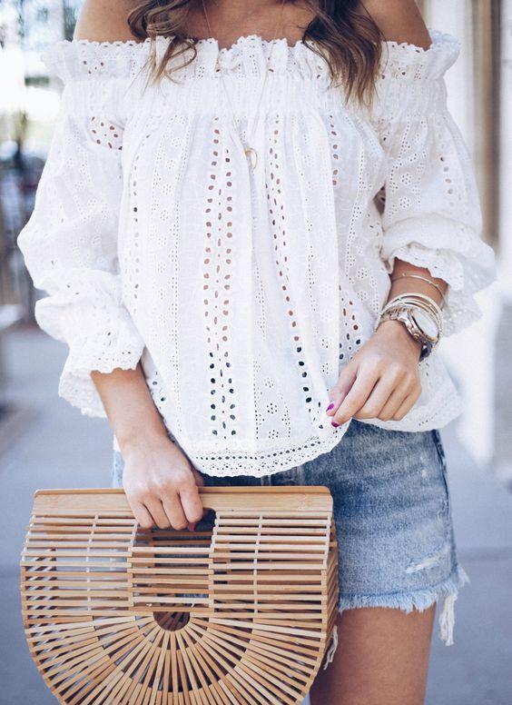 ootd | white blouse + bag + denim skirt