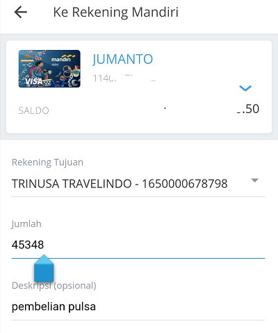 transfer via mandiri online