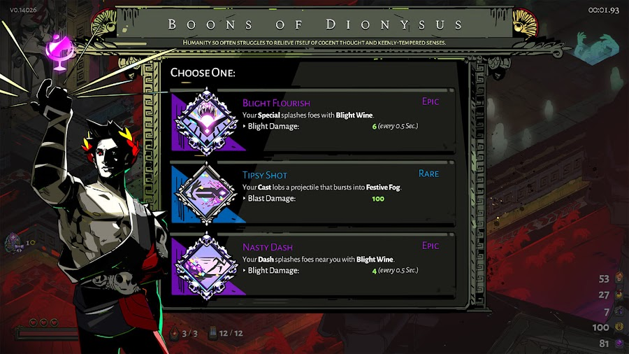 hades dionysus boon good times update supergiant games
