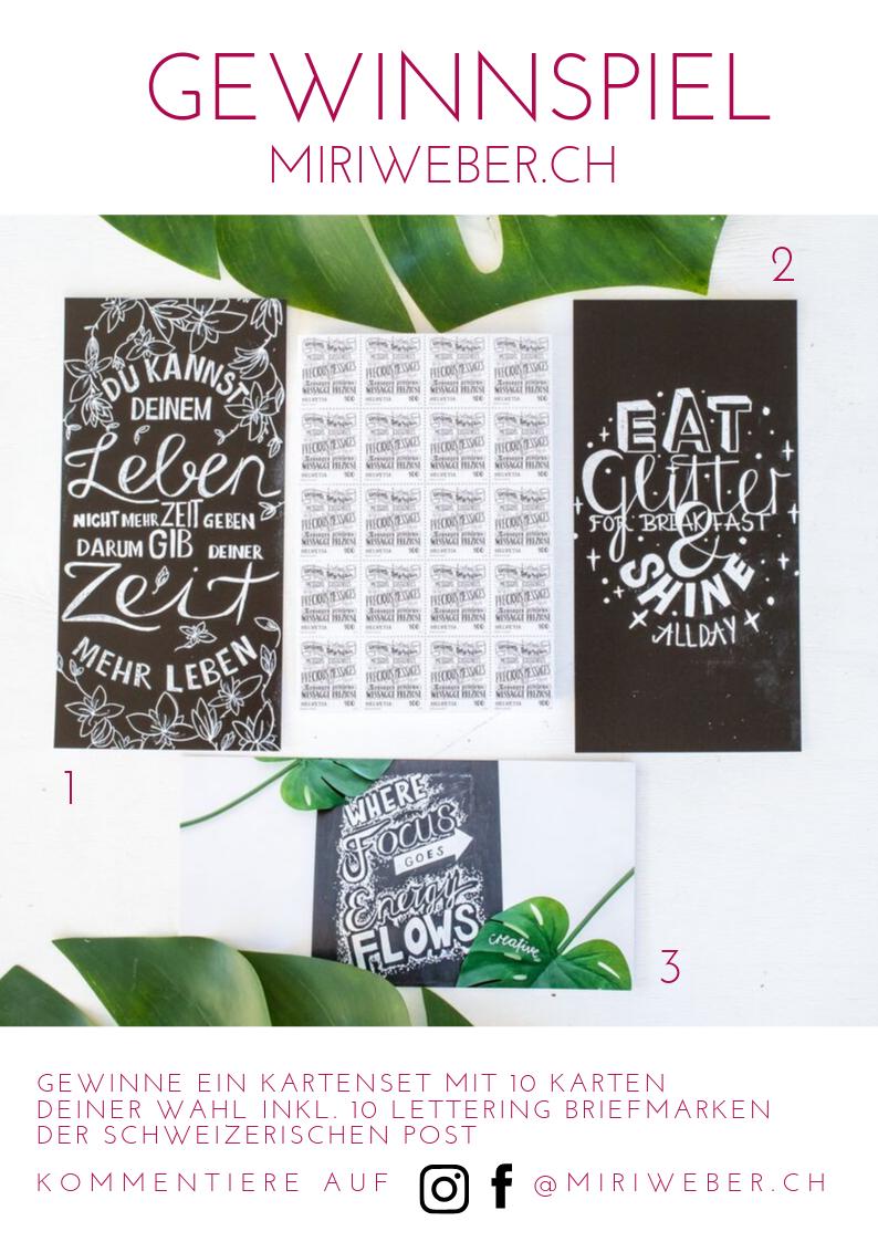 Handlettering Briefmarken, Handlettering Karten, Schweizerische Post, Creative Content Creator, DIY Blog Schweiz