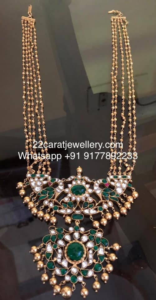 Kundan Locket with Beads Haram in Silver