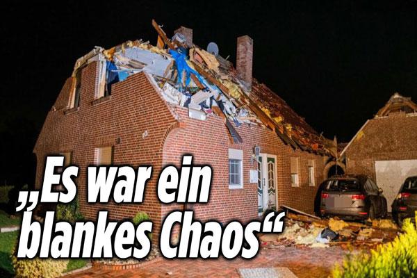 Videomaterial über einen plötzlichen Tornado in Ostfriesland