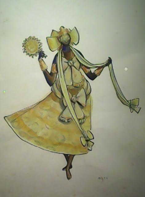 Representação de Oxum com um vestido amarelo.