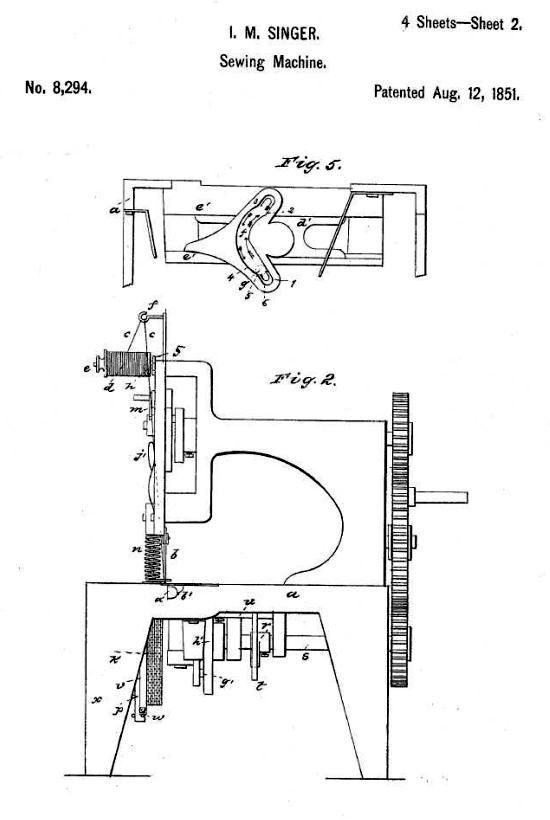 Singer sewing machine patent 1851 - sheet 2