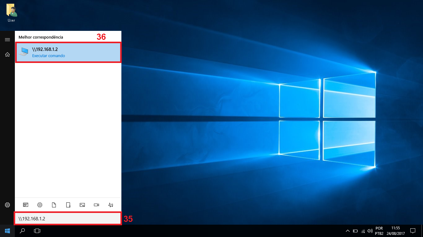 """35 - Clique no iniciar do Windows, e digite barra ao contrário + o ip que você deixo fixo para seu computador, exemplo da imagem """"\\192.168.1.2"""" (sem as aspas). 36 - Dê um enter ou clique no ícone do executar comando."""