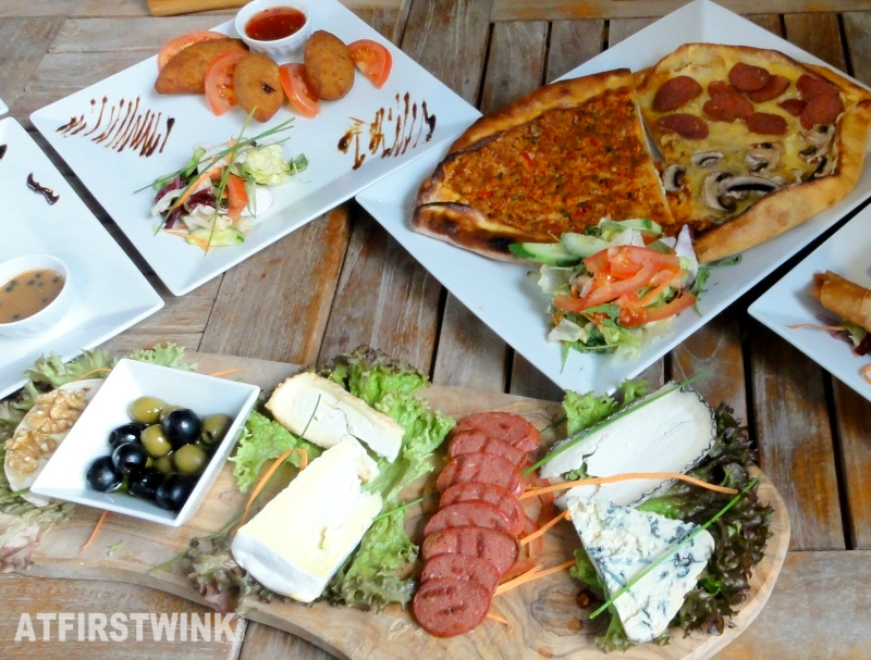 pizza ham cheese olives plank platter