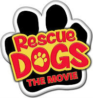 Rescue Dog The Movie logo is black paw with title in red and yellow