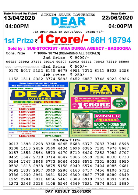 Lottery Sambad Today 13.04.2020 Dear Luck Monday 4:00 pm