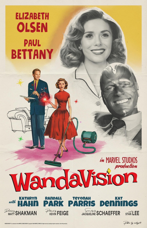 WandaVision 50's Inspired Poster : マーベル配信シリーズの第1作め「ワンダヴィジョン」のアメリカのテレビの黄金時代を振り返るテーマにそって、1950年代風に描いてみたレトロなファンメイドのポスター ! !