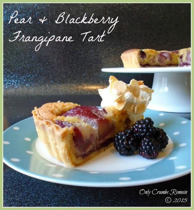 Pear and blackberry frangipane tart