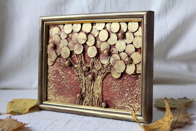 денежное дерево, из монет, панно