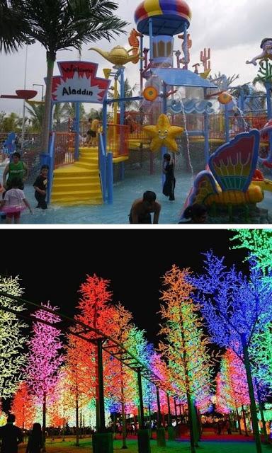 i-City taman tema air dan pokok cahaya