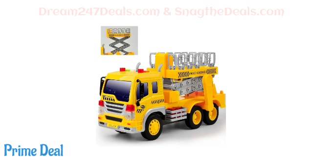 40%OFF Gizmovine Toy Truck Friction Power with Lights and Sounds, Super Duty Lift Construction Vehicles Pull Back & Go Car Toys for Toddlers Boys, 1:16 Scale