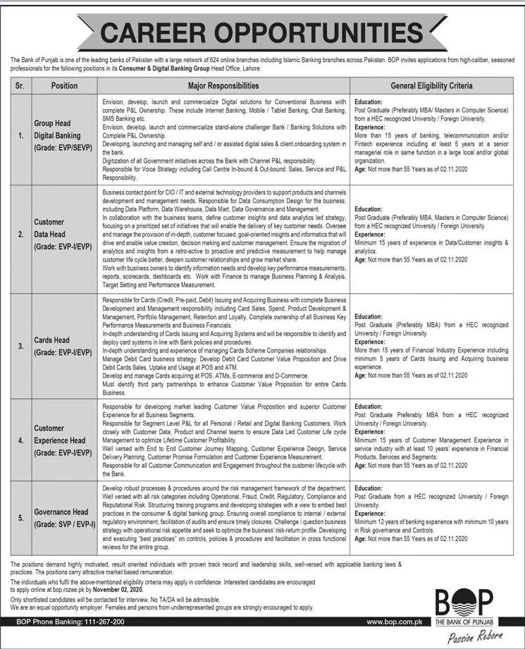 Bank of Punjab BOP Job Advertisement in Pakistan - Jobs 2020-2021 - Apply Online - www.bop.rozee.pk