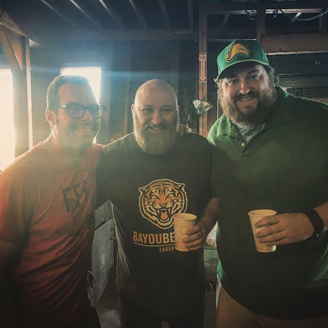 Aaron Franklin, Jay and myself posing after a behind the scenes tour of Franklin Barbecue