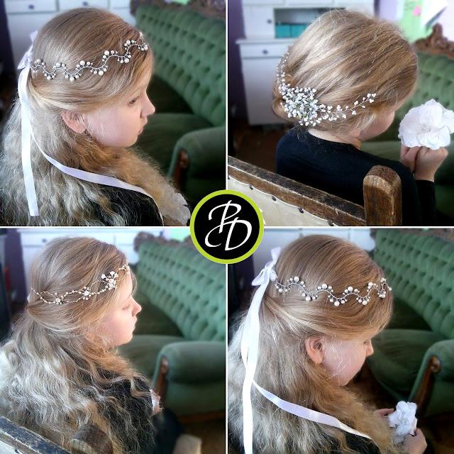 Ślubne ozdoby do włosów z perłami.