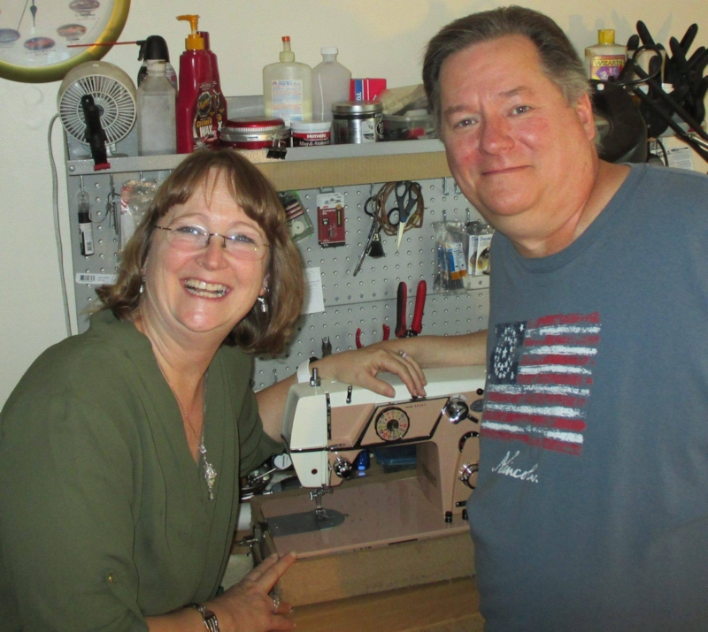 Grant Gray and Bonnie Hunter in Grant's shop, Sew Restored, in  Brookfield, Illinois.