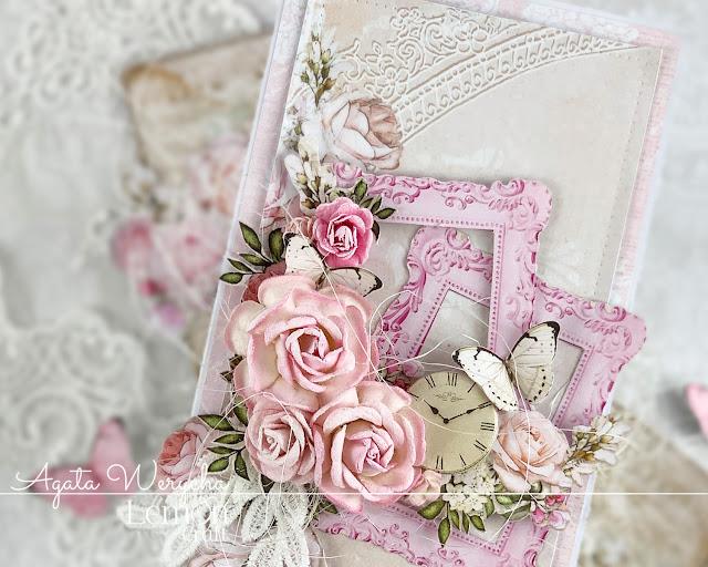 Róże, koronki i pastele to sposoby na romantyczną kartkę