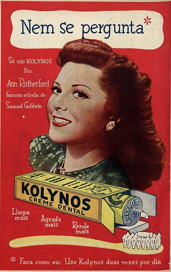 Propaganda antiga da Kolynos com celebridade do cinema em 1947