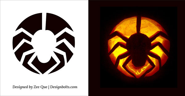 Free printable Spider halloween pumpkin carving pattern designs