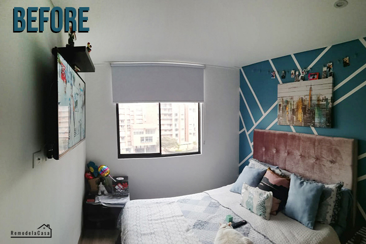 small apartment bedroom makeover in Bogota, Colombia