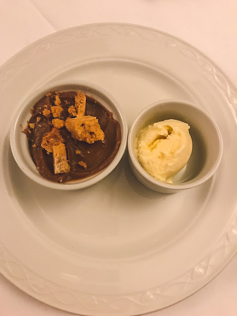 Dunsley Hall Country hotel restaurant salted caramel chocolate pot with ice cream