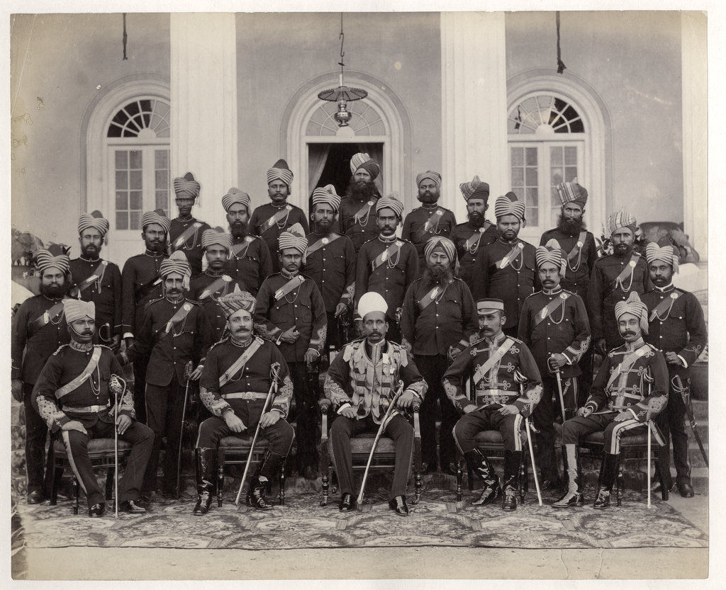 Indian Military Officers of a Native Regiment - c1880's
