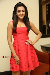 Actress Catherine Tresa Latest Pos in Red Short Dress at Intex Air Conditioners Launch  0022.jpg