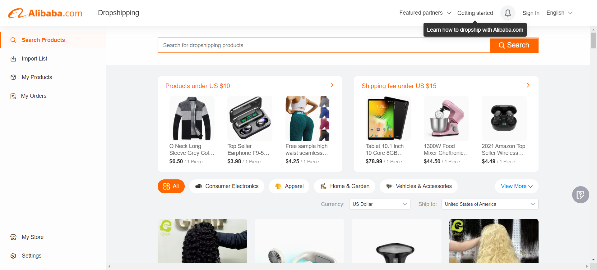 Dropshipping on Alibaba.com presents a wide range of popular categori