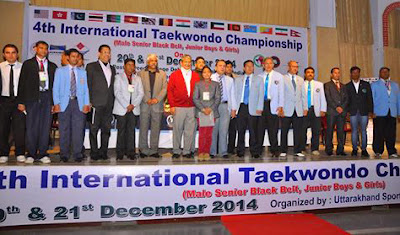 inauguration 4th International Taekwondo Championship 2014, Dehradun, India Team Coach, Master Er. Satpal Singh Rehal from Mohali, Punajb with Grandmaster Jimmy R. Jagtiani & Chief Minister of UK Sh. Harish Rawat