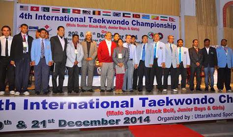 inauguration 4th International Taekwondo Championship 2014, Dehradun, India Team Coach, Master Er. Satpal Singh Rehal from Mohali, Punajb with Grandmaster Jimmy R. Jagtiani & Chief Minister of UK Sh. Harish Rawat