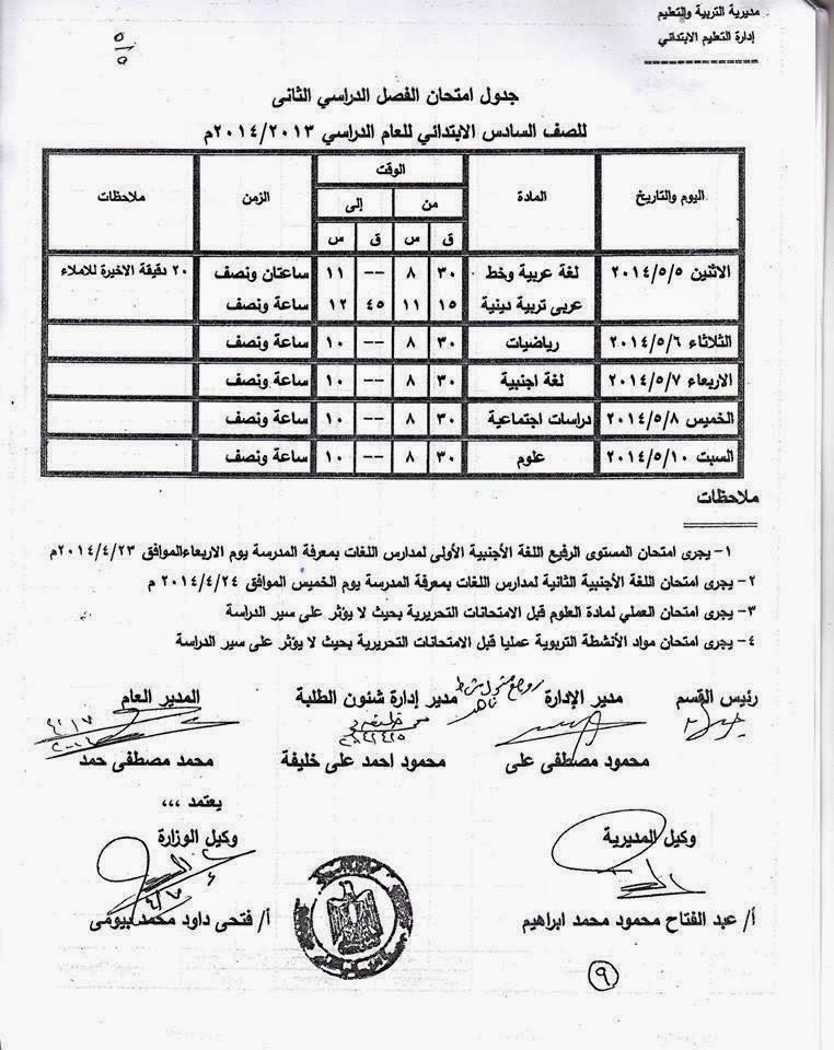 جدوال امتحان الشهادة الابتدائية الترم الثانى 2014 محافظة اسيوط 10003547_64963023175