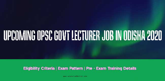upcoming lecturer job in odisha 2020