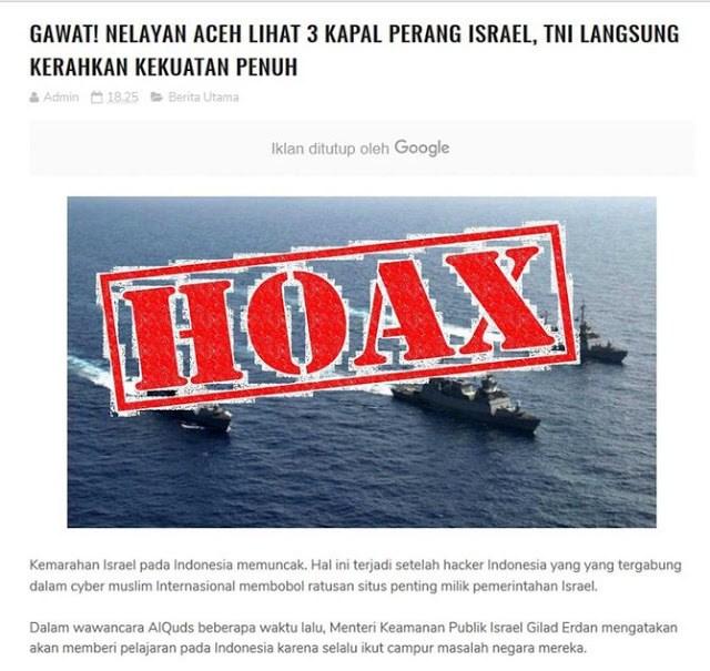 TNI tegaskan berita 3 kapal perang Israel terlihat di Aceh Hoax!