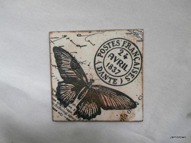 podkładka z motylem vintage