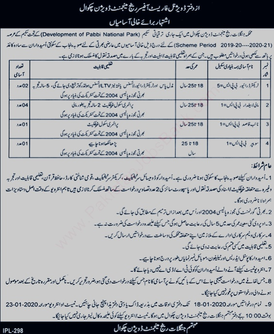 Jobs in Forest Division government of Punjab 2020 latest Forest Vacancies