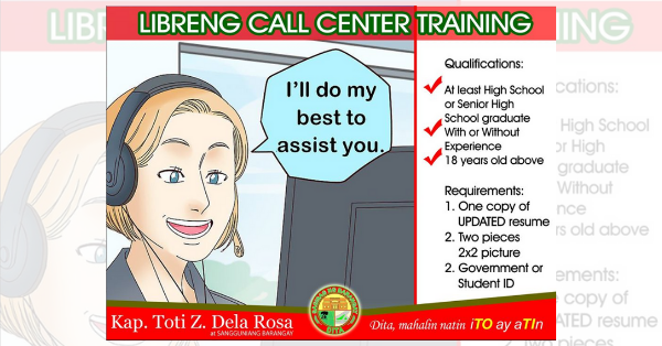 Call Center Training Libre, Walang Babayaran