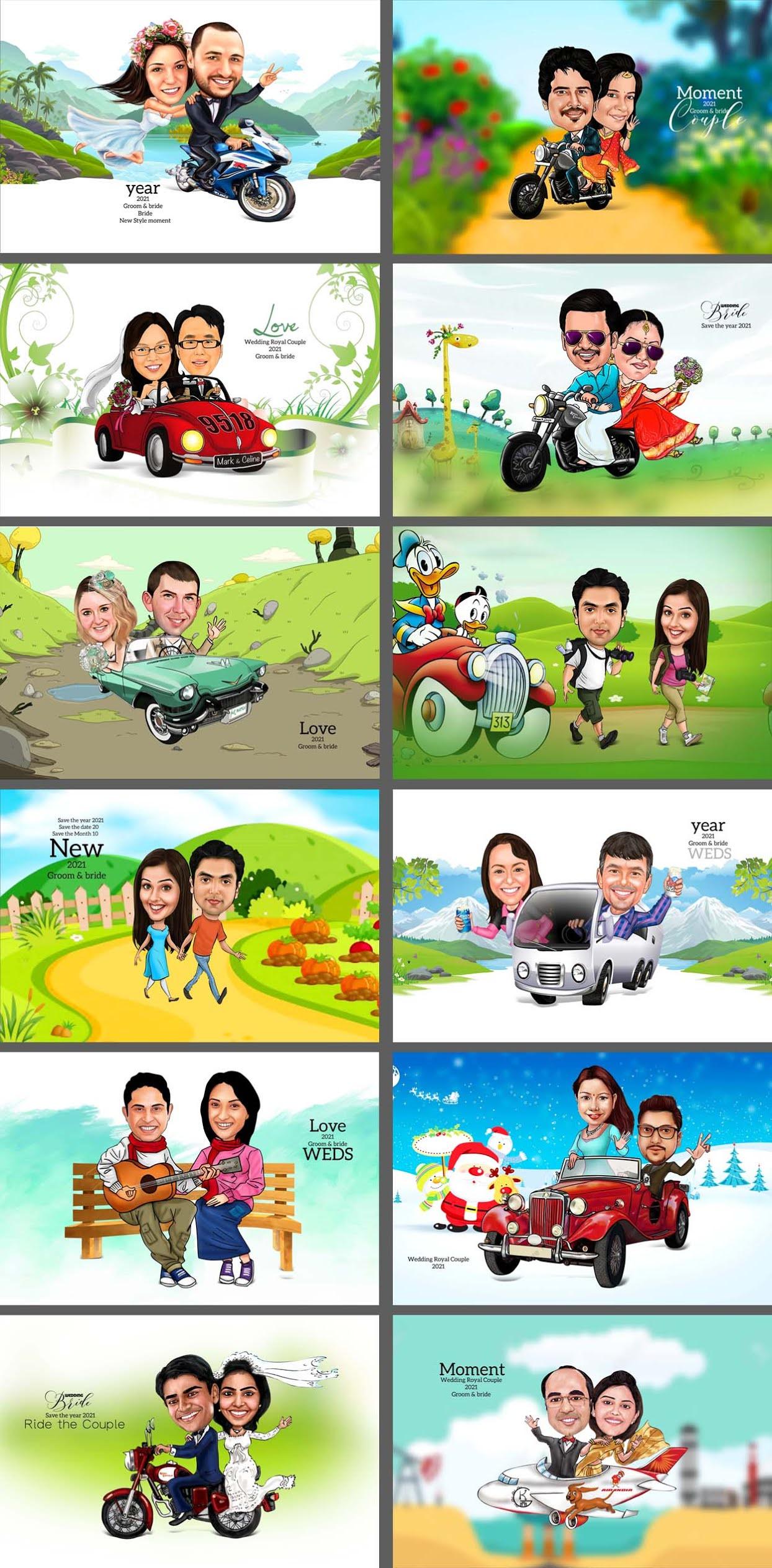 Digital Couple Caricature Design