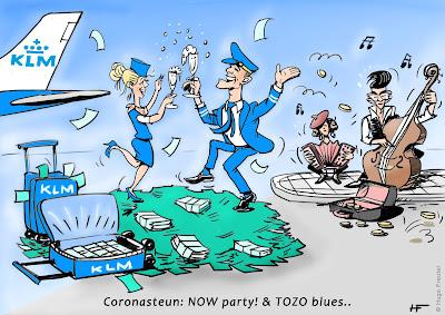 KLM stewardes en piloot dansen op een berg geld, daarnaast arcordeonist en contrabassist met grijpstuivers
