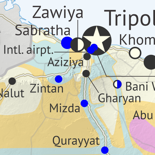 Libya: Who controls what? A concise, professional map of who controls Libya now (December 2019). Shows detailed territorial control in the Libyan Civil War as of September 27, 2019, including all major parties (Government of National Accord (GNA); Tobruk House of Representatives, General Haftar's Libyan National Army (LNA), and allies; Tuareg and Toubou (Tebu, Tubu) militias in the south; the so-called Islamic State (ISIS/ISIL); and other groups such as the National Salvation Government (NSG)). Includes terrain, major roads, and recent locations of interest including Yarmouk Camp, Tripoli International Airport, El Feel Oilfield, Tummo border crossing, and more. Colorblind accessible.
