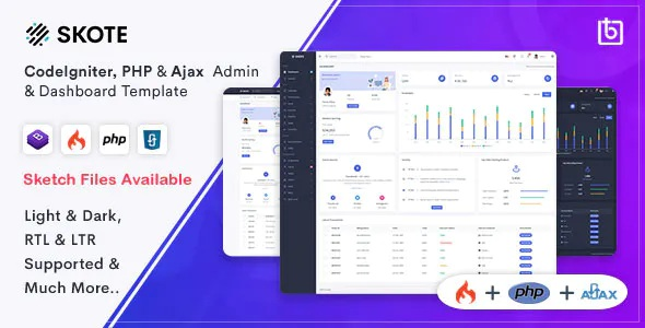 Best CodeIgniter, PHP & Ajax Admin Dashboard Template