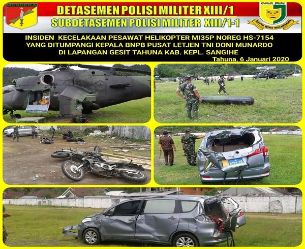 Helikopter Yang Ditumpangi Kepala BNPB Pusat Mengalami Insiden di Lapangan Gesit Kep.Sangihe