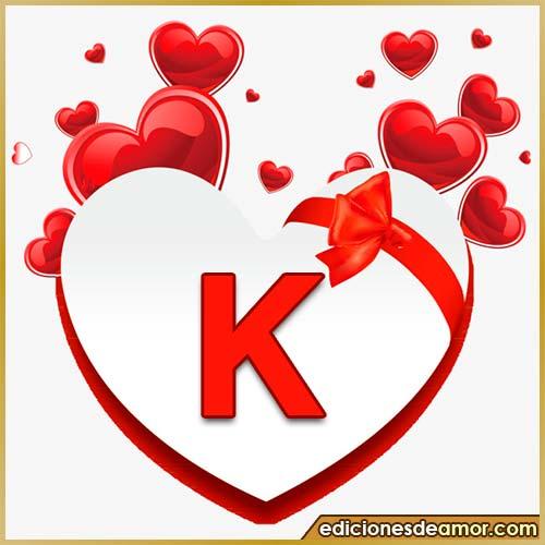 corazones volando con letra K