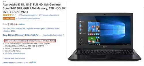 شراء كمبيوتر Acer amazon